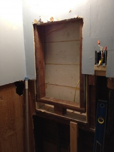 Framed out a box for recessed medicine cabinet