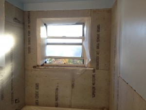 Backer board up around the bathroom